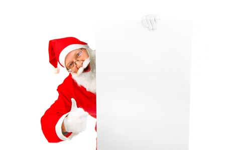 cheerful santa claus with big blank card