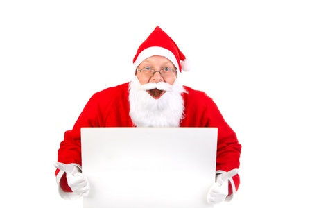 amazed santa claus with big blank card photo