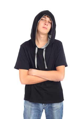 supercilious: teenager in hood isolated on the white