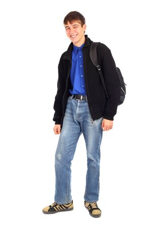 back pack: teenager with knapsack isolated on the white