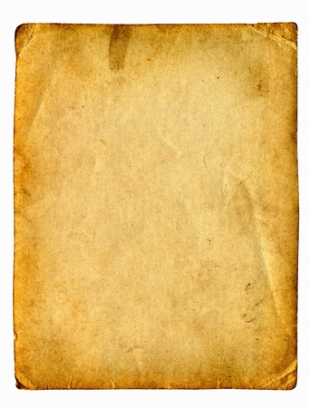 old paper with space for text isolated on the white Stock Photo - 9872753