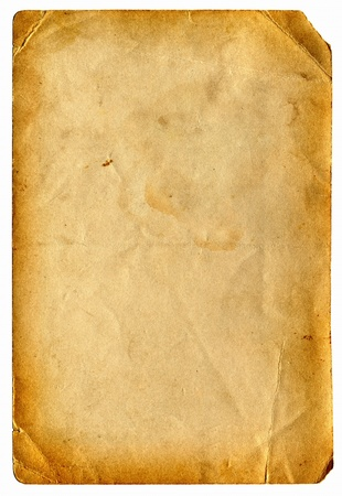 old paper with space for text isolated on the white Stock Photo - 9872759