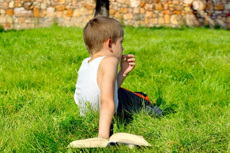 wearied: bored boy with a book on the summer meadow