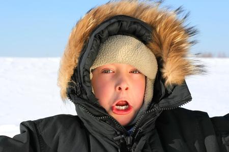 frozen kid on the hard frost  photo