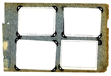 photo frames on old aged album isolated
