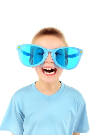 funny glasses: boy in big glasses isolated on the white