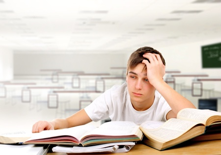 the weariness: tired student in the classroom
