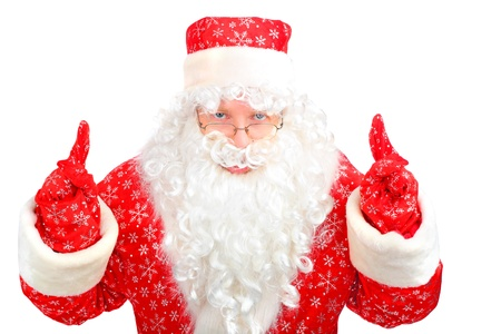 christmas santa claus with fingers up photo