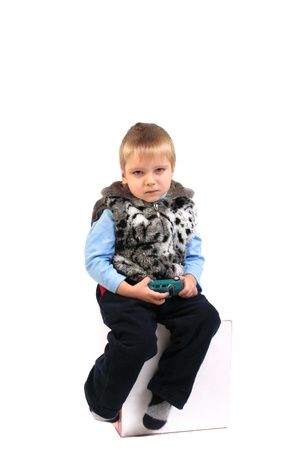 sad child boy isolated on the white Stock Photo - 10232708