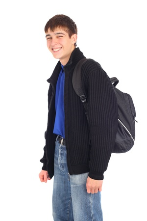 teenager with knapsack isolated on the white photo