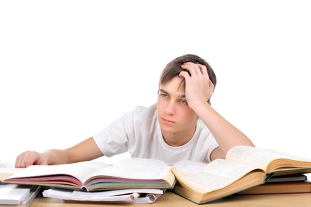 tedium: bored and tired student after hard work for exam Stock Photo