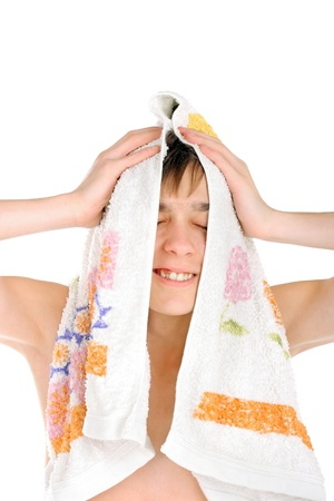 happy teenager after bathing isolated on the white Stock Photo - 10355057