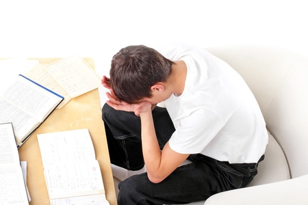 tired student after hard work for exam Stock Photo