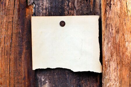 blank paper hanging on the wooden background Stock Photo - 10355141