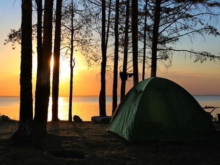 acampar: tienda de campaña en el bosque en el fondo puesta de sol