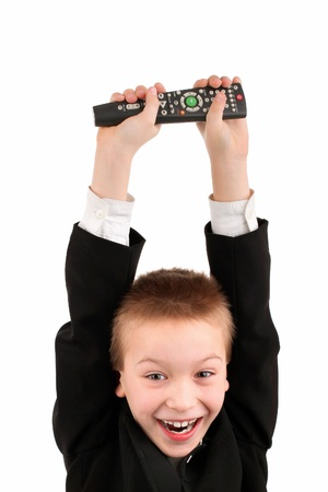 happy boy with remote control isolated photo