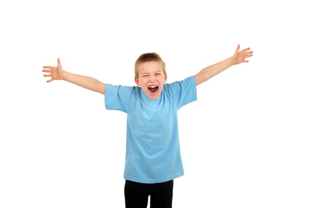 surprised child: screaming boy spreading hands isolated on the white Stock Photo