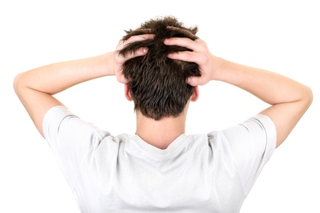 back view of the young man head  isolated on the white background Stock Photo