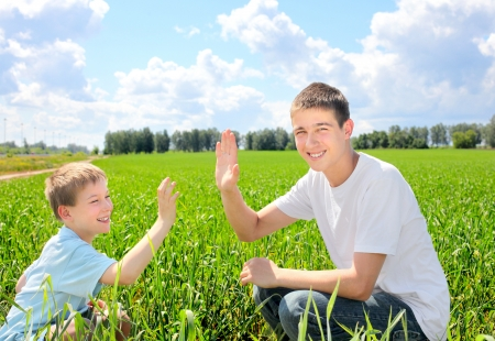 happy brothers shake hands in the summer field photo