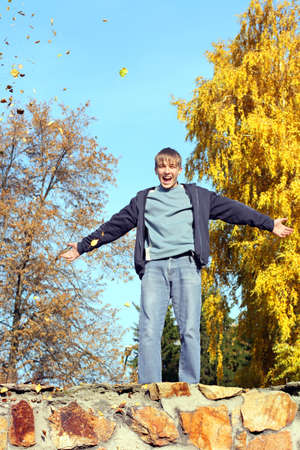 happy teenager in the autumn park Stock Photo - 14903170