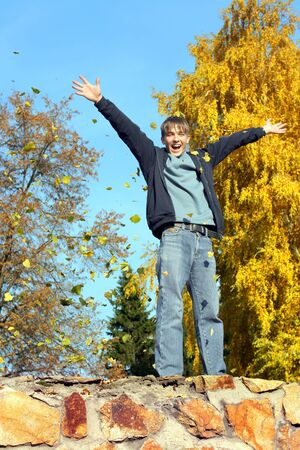 happy teenager in the autumn park Stock Photo - 14903174