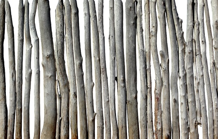 security gap: old wooden fence isolated on the white background