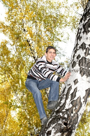brich: happy teenager climbing on the tree in the autumn forest Stock Photo
