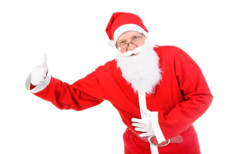 santa claus with thumb up isolated on the white background