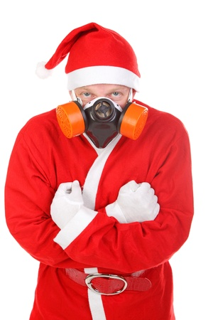santa claus in gas mask  isolated on the white background photo