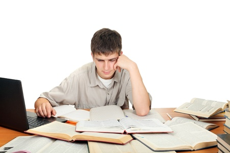 wearied: bored and tired student after hard work  isolated on the white background