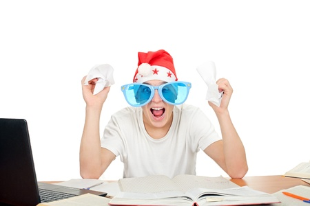 angriness: nervous student in santa