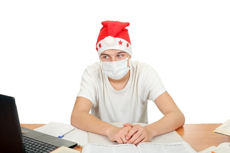 sick and sad student in santa photo