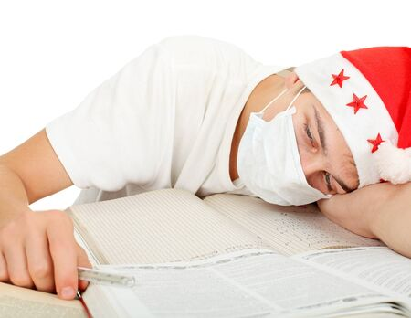 drowse: diseased student in santa Stock Photo
