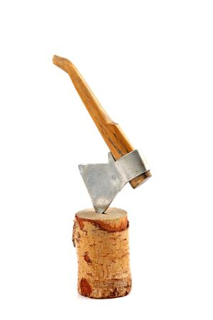 axe toy in stump closeup  isolated on the white background Stock Photo - 16159300