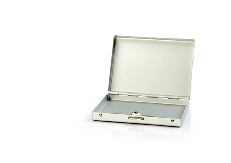 small metallic suitcase isolated on the white background photo