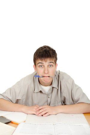 Surprised Student with pen in his mouth  On the White Background Stock Photo - 16763109