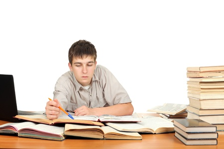 Student on the School Desk  Isolated on the White Background Stock Photo - 16907938