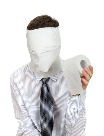 Man with no face holds roll of Toilet Paper  Isolated on the White Background Stock Photo - 16908036