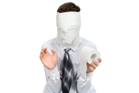 Man with no face holds roll of Toilet Paper  Isolated on the White Background photo