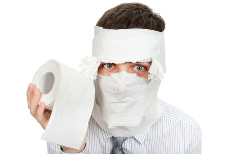 Man in shirt and necktie with Toilet Paper  Isolated on the White Background photo