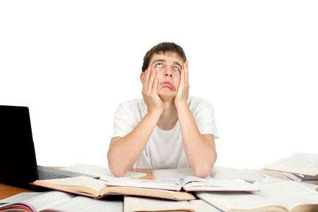 dissatisfaction: Bored and Tired Student make funny grimace  Isolated on the White Background Stock Photo