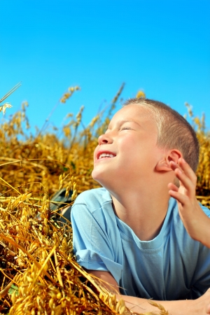 Happy young boy lying in the Summer wheat field Stock Photo - 17892960