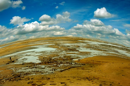 ravaged: Summer Landscape Of Ravaged Ground with beautiful Skyes