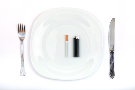 deleterious: Concept of Cigarette and Lighter Instead a Food