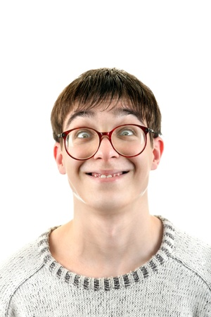 dweeb: Funny Young Man Portrait in Glasses  Isolated on the White Background