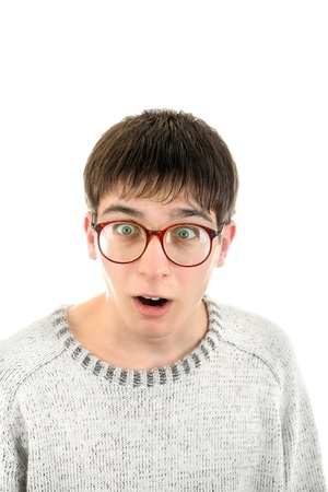 dweeb: Surprised Young Man Portrait in Glasses  Isolated on the White Background
