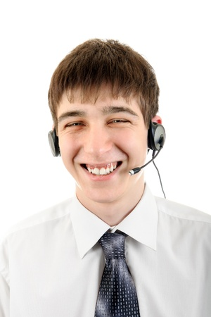 Handsome Young Man With Headset  Isolated on the White Background Stock Photo - 18991064