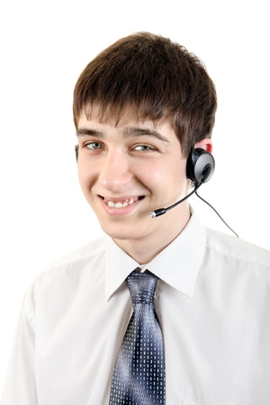 Handsome Young Man With Headset  Isolated on the White Background Stock Photo - 19265764