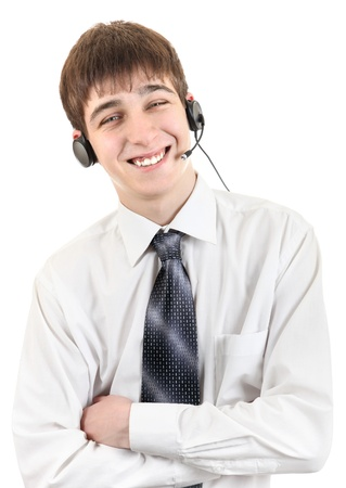 Handsome Young Man With Headset  Isolated on the White Background Stock Photo - 19265785