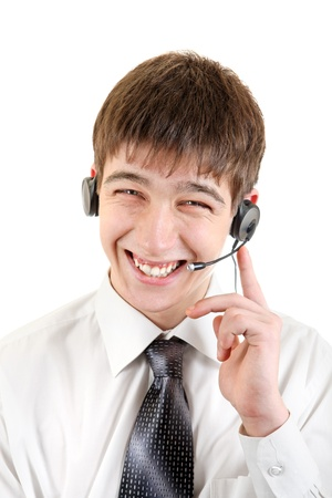 Happy Young Man With Headset  Isolated on the White Background Stock Photo - 19403113
